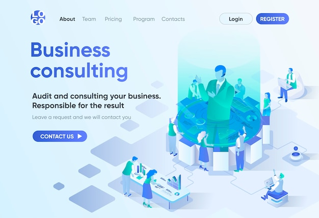 Business consulting isometric landing page. competent expertise and assistance, professional audit. business consultation template for cms and website builder. isometry scene with people characters.