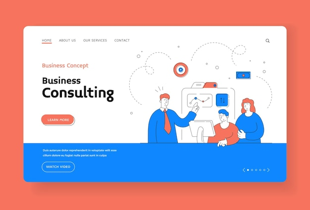 Business consulting landing page banner template. male cartoon character business consultant demonstrating scheme and data on computer to modern couple. flat style illustration, thin line art design