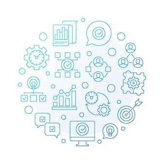 Business consulting round blue outline icon illustration