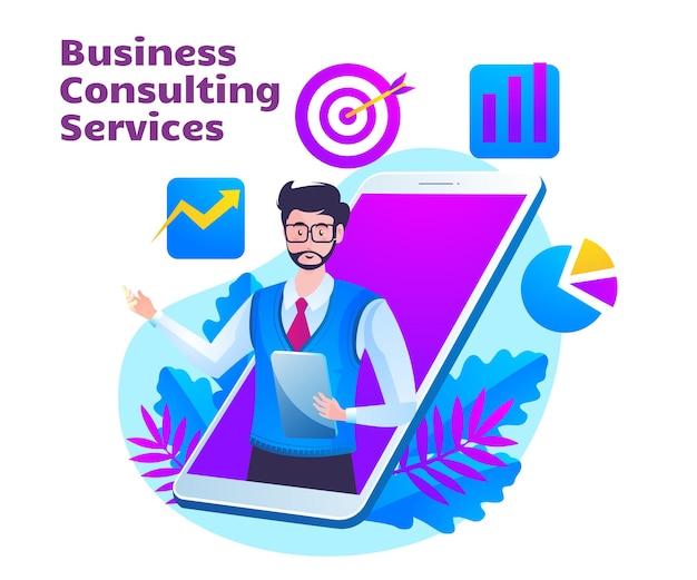 남자와 모바일 스마트 폰 기호 비즈니스 컨설팅 서비스