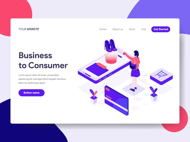 Business to consumer illustration for web pages