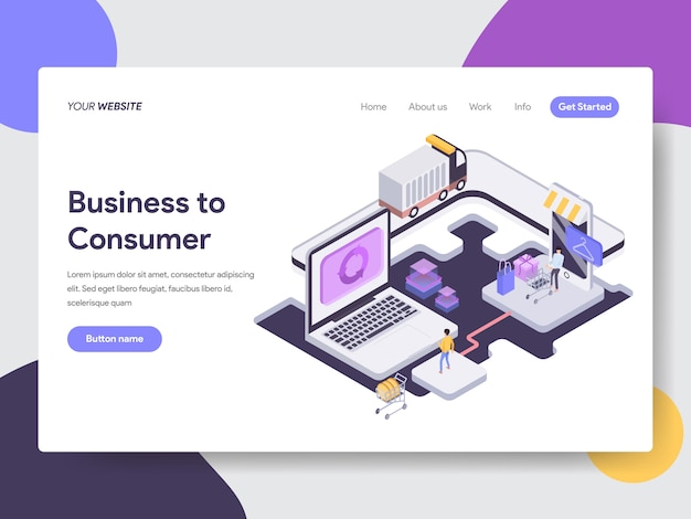 Business to consumer isometric illustration for web pages