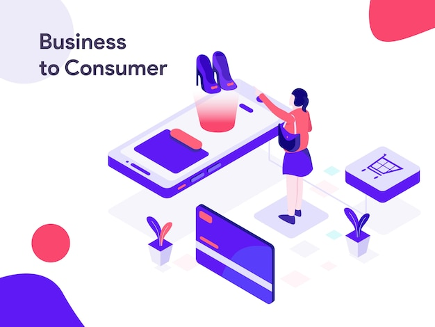 Business to consumer isometric illustration