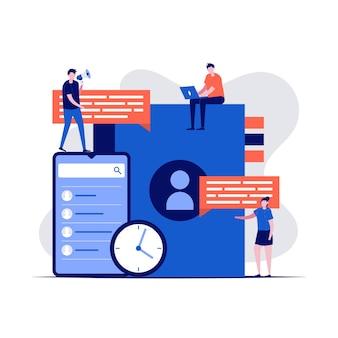 文字とスマートフォンのビジネス連絡先本のコンセプト。モバイルとリマインダーの連絡先リストアプリ。