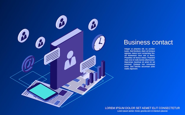 Business contact flat isometric vector concept illustration