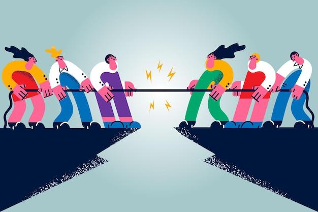 비즈니스 콘테스트, 경쟁, 도전 개념. 사람들이 만화 캐릭터 작업자 그룹이 서로 경쟁하는 벡터 일러스트레이션과 밧줄로 싸우는 경쟁 경쟁을 하고 있습니다.