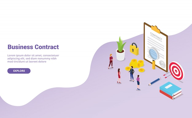 Business contract agreement with team people
