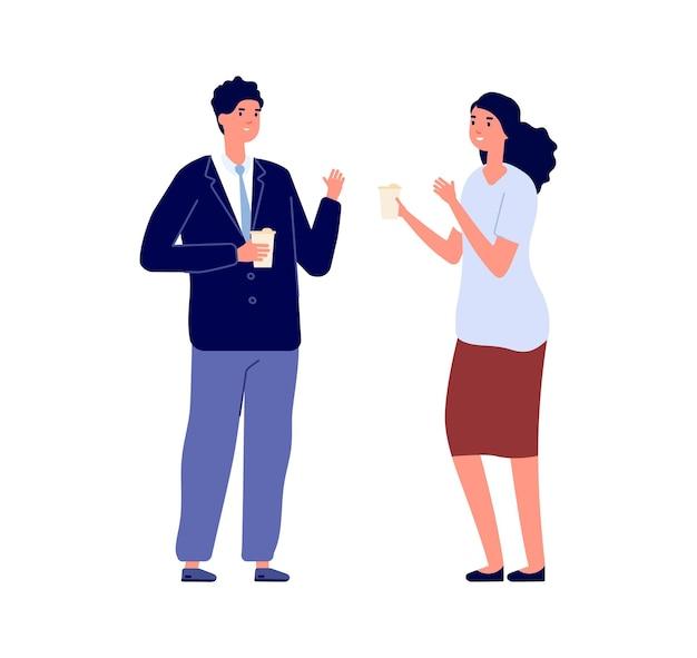 ビジネス会話。話しているビジネスマン、エコマグカップを保持している男性女性。昼食またはコーヒーブレイクのマネージャー、孤立したフラットオフィスワーカーのベクトル文字。イラスト商談会