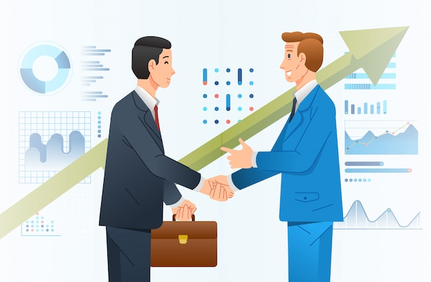 Business cooperation among two company illustrate with two businessman shaking hand