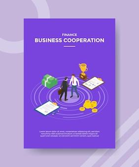 テンプレートバナーとアイソメトリックスタイルのイラストで印刷するためのチラシのビジネス協力の概念