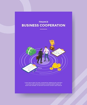 Business cooperation concept for template banner and flyer for printing with isometric style illustration