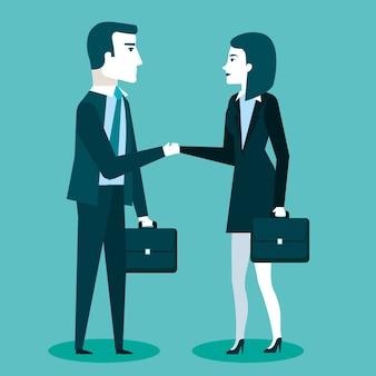 ブリーフケース付きの2つのビジネスパートナーのビジネス協力ハンドシェイク