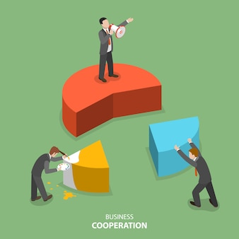 Business cooperation isometric flat vector concept.