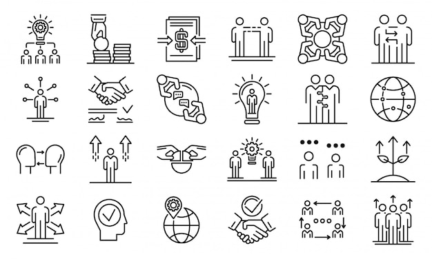 Business cooperationicons set, outline style