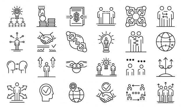 Набор делового сотрудничества, стиль контура