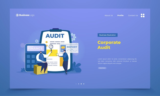 Business corporate audit on landing page