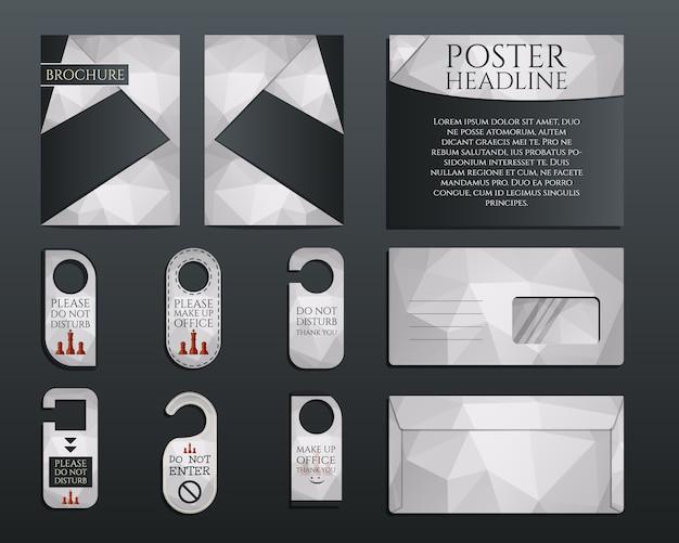 Набор фирменного стиля для бизнеса. шаблон дизайна брошюры и флаера, конверт, наклейки в многоугольном стиле, касающиеся управления, консалтинговой темы. иллюстрация