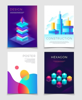 Business corporate cover template with typography and 3d abstract colorful shapes