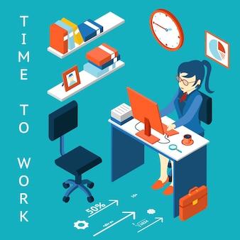 ビジネス企業プロセスのインフォグラフィック要素。コンセプトを働かせる時間。職場、パフォーマンス。