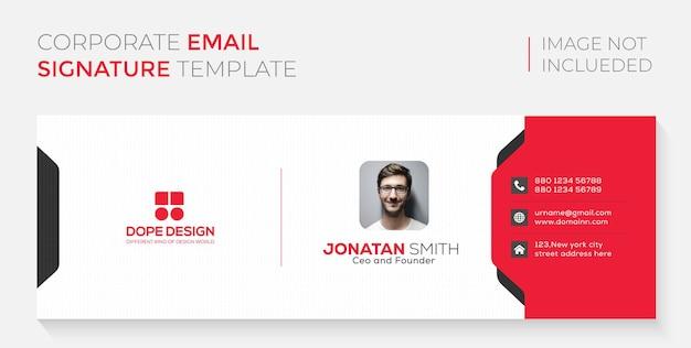 Бизнес корпоративный профессионал красный дизайн подписи электронной почты premium векторы