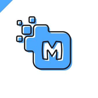 Business corporate square letter m font logo design