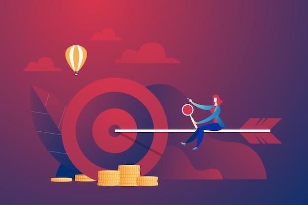 Деловой корпоративный со стрелкой всадника к цели. векторная иллюстрация бизнес-концепции