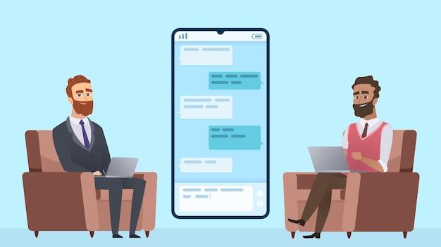 Business correspondence. businessman communicates with freelancer.