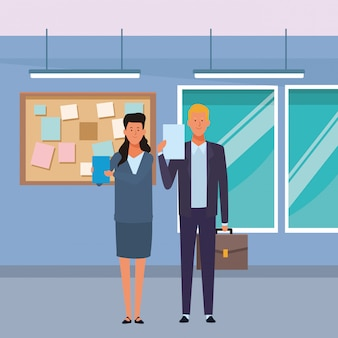 Business couple avatar cartoon character in the office