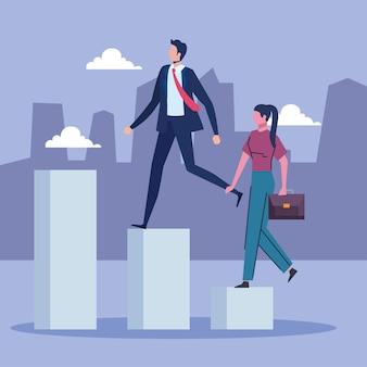 階段を登るビジネスカップル