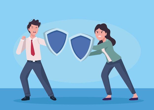 Business couple extressed with shield guard  illustration