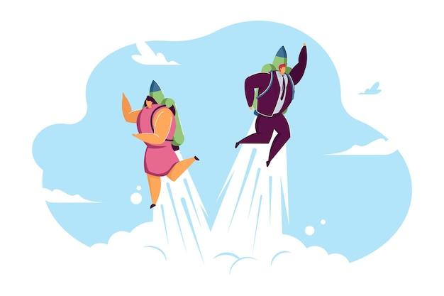 空を高速で飛んでいるビジネスカップル。ジェットパックフラットベクトルイラストと男性と女性。プロモーション、キャリアブースト、バナー、ウェブサイトのデザインまたはランディングウェブページの専門的な成長の概念