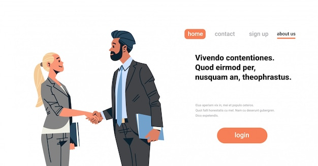 Business couple handshake banner