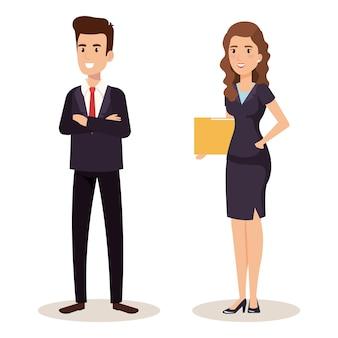 Business couple isometric avatars