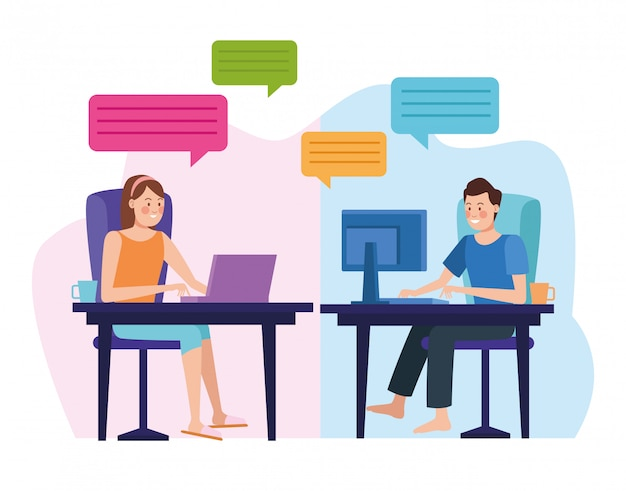 Business couple in meeting online reunion