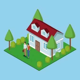 Бизнес пара недвижимости 3d Premium векторы