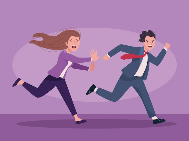 Business couple running extressed avatars characters  illustration