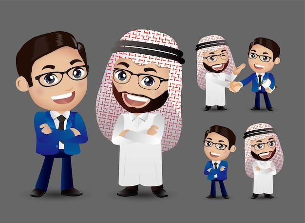 一緒にビジネスカップルと握手漫画のキャラクター