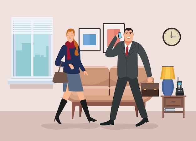 사무실 그림으로 다시 거실에서 걷는 비즈니스 커플