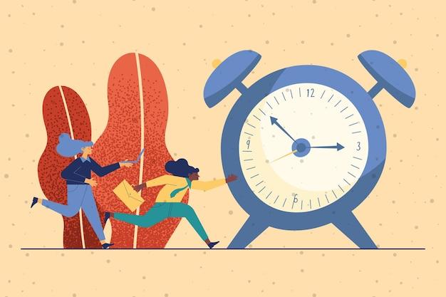 Business couple with alarm clock deadline