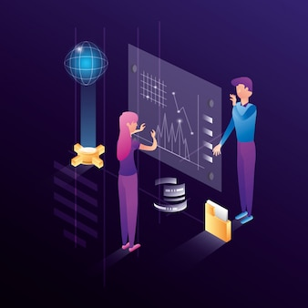Business couple with data center network icons