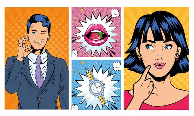 Business couple with lips and watch pop art style