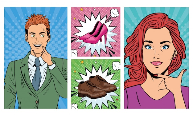 Business couple with shoes accessories pop art style