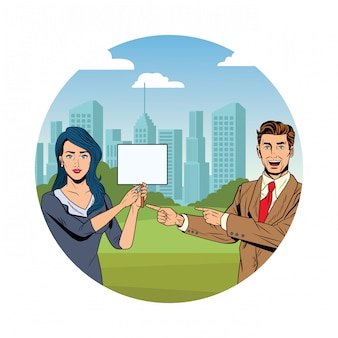Business couple with signboard round icon