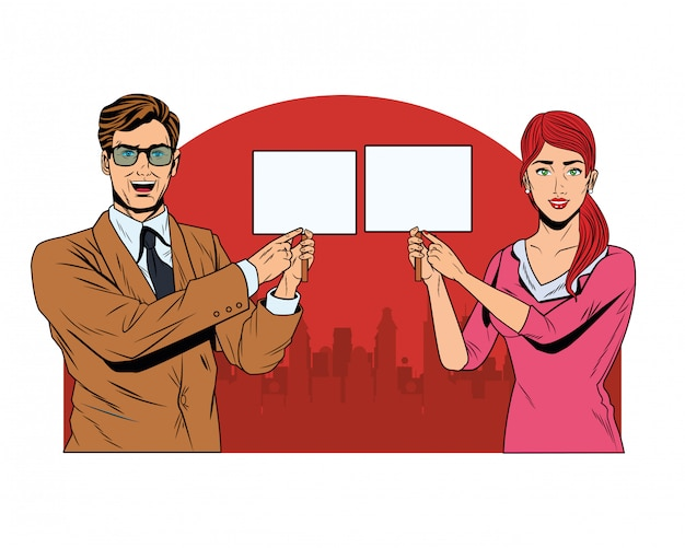 Business couple with signboard