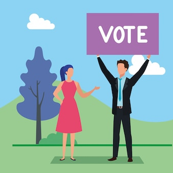 Business couple with vote lettering in landscape
