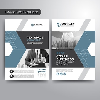Business cover brochure template blue gray geometric shapes