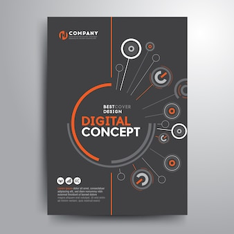 Business cover brochure template digital electronic shapes