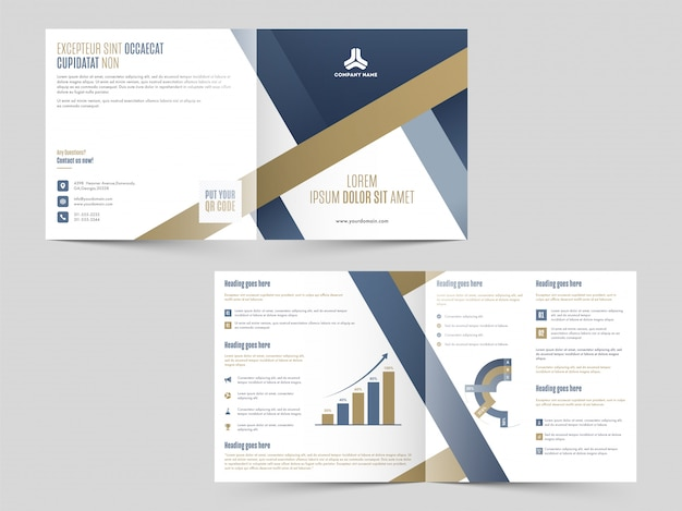 Business cover design or brochure, annual report with infographics in front and back view.