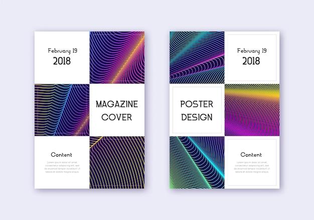 ビジネスカバーデザインテンプレートセット。濃い青の背景に虹の抽象的な線。素晴らしいカバーデザイン。磁気カタログ、ポスター、本のテンプレートなど。