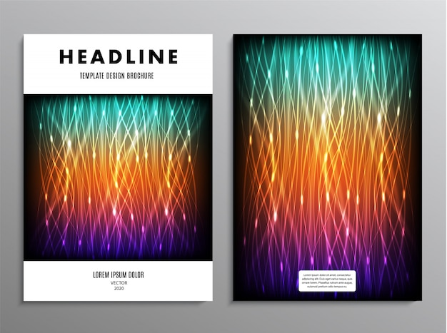 Business cover template in a4 format with abstract neon